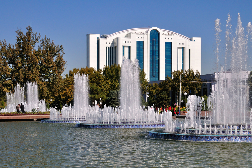 Fountains of the Independence Square in Tashkent